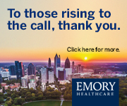 "Emory Healthcare logo with a skyview of Atlanta that says ""To those rising to the call, thank you."""