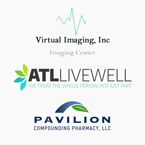 Virtual Imaging, Inc., ATL Live Well, and Pavilion Compounding Pharmacy, LLC logos